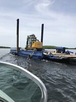 Shore lines dredging excavatin and barging