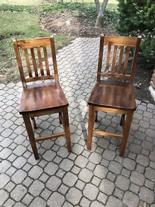 Pair of Breakfast bar stool chairs (2) solid wood