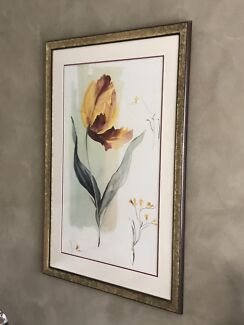 Framed Water Colour picture Print - Tulip Greeting The Sun.