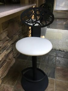 2 CAST IRON BREAKFAST NOOK OR BAR STOOLS