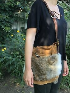 Rare Mukluk made in Canada rabbit fur and suede shoulder purse.