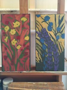 Floral oil paintings 8 x 16