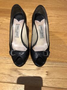 Authentic jimmy Choo pump size 35.5 black peep toe