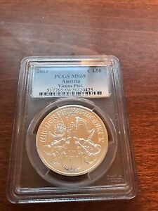 "2013-1 oz silver graded coin PCGS MS 69 ""Austrian Philharmonic"""