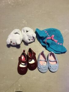 Baby shoes, slipper, and hat