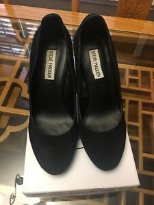 Steve Madden black sued leather high heels, size 8