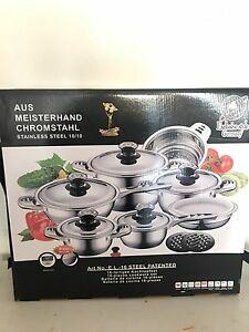 Brand new 16 piece stainless steel saucepan set