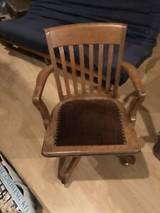 Retro vintage wooden office/ captains chair