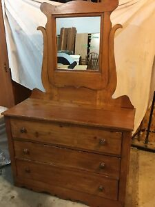 Dresser with mirror, Nfld pine - antique