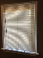White blinds with hardware