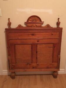 Antique single bed including wooden frame rails