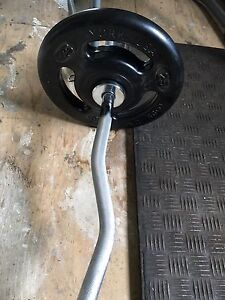 Olympic Size weights and curl bar / 50lbs