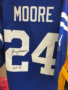 Lenny Moore signed Baltimore colts jersey - HOF 1975