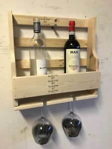 Pallet Wine Rack 4 bottle Xmas gift