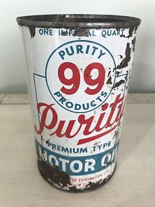 Antique Purity 99 Imperial Quart Motor Oil Tin Can gas sign cans
