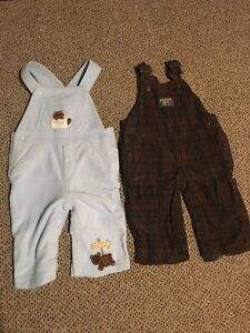 2 pairs of boys overalls size 6 months