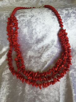 Red Coral 3 strand necklace