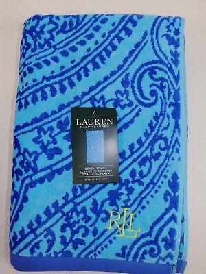 French Beach Towel - NWT RALPH LAUREN 35x66 Teal Blue MEDALLION Design French Terry Beach Towel