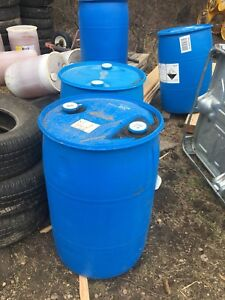 45 gallon barrels. Great for rain barrels and garbage cans