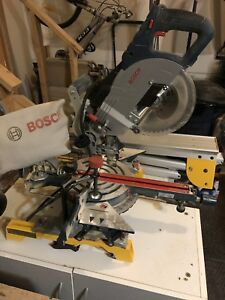 "Bosch 8-1/2"" single bevel slide mitre saw + Stand"