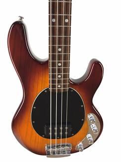 Music Man Sterling, Ray 34 Bass, Cherry Sunburst, Near NEW Cond