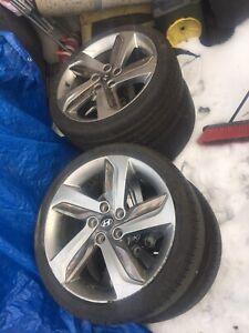 "Hyundai rims mint 18"" with winter tires 90% tread on 2 60% on2"