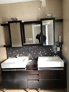 Double Vanity with sinks and mirrors