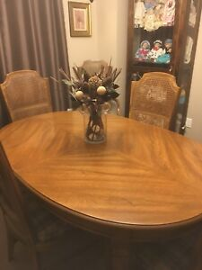 1938 teak wood dining table and hutch