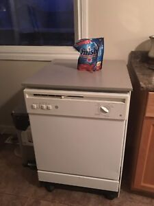 Portable dishwasher with wheels