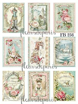 ~ Shabby Chic Stamperia Eclectic Mix Christmas 9 Mini Prints on Fabric FB 256 ~