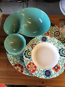 Outdoor Plastic Serving Dishes! and Tray