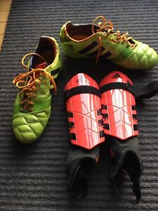 Soccer cleats and shin pads in great shape, rarely used