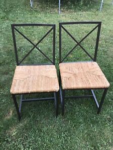 Wicker & Metal Chair Set - 4 Chairs