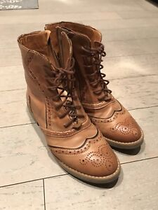 Leather lace up boots size 36