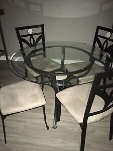 """Glass Table (42"""" Diameter Top) & 4 Chairs - $200"""