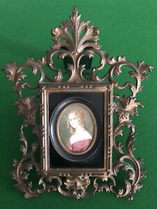 Miniatures Ivory  antique Painting by Edward Magnus  Framed