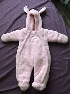 Pink bunny snow suit
