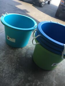Five Utility storage buckets with rope handles