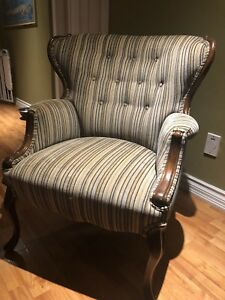 Vintage Wing Back Chair and storage Foot Stool