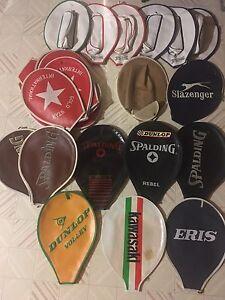 Antique tennis racket covers Spalding, Kawasaki, Dunlop Glamorgan Vale Ipswich City Preview