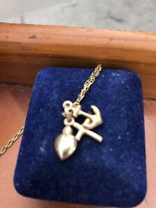 Heart, Anchor and Cross necklace in 10k gold
