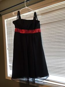 Alfred Angelo black formal gown with red sash