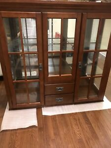 Solid Wood Buffet and Hutch Display Cabinet
