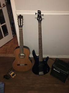 Bass Guitar and Classical Acoustic + Accessories