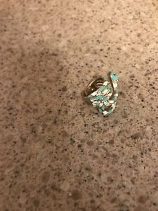 Unique Women's *Snake* Turquoise/White Ring