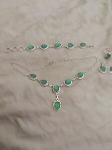 Sterling Silver & Opal Jewellery Set