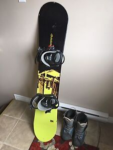 Snowboard and size 9 snowboard boots