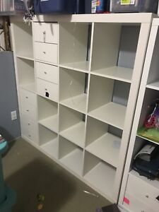 16 cube Kallax shelf with drawers and desk option.