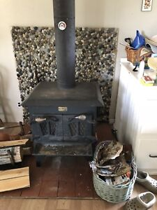 Cast iron wood stove and chimney