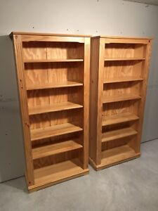White pine bookcases-bookshelves, two available